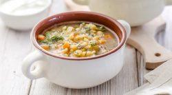 Суп гороховый с запеченными ребрышками