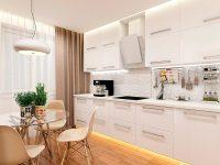 Белый дизайн кухни совсем не скучный